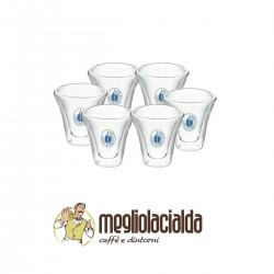 6 bicchieri di vetro Borbone originali per caffè